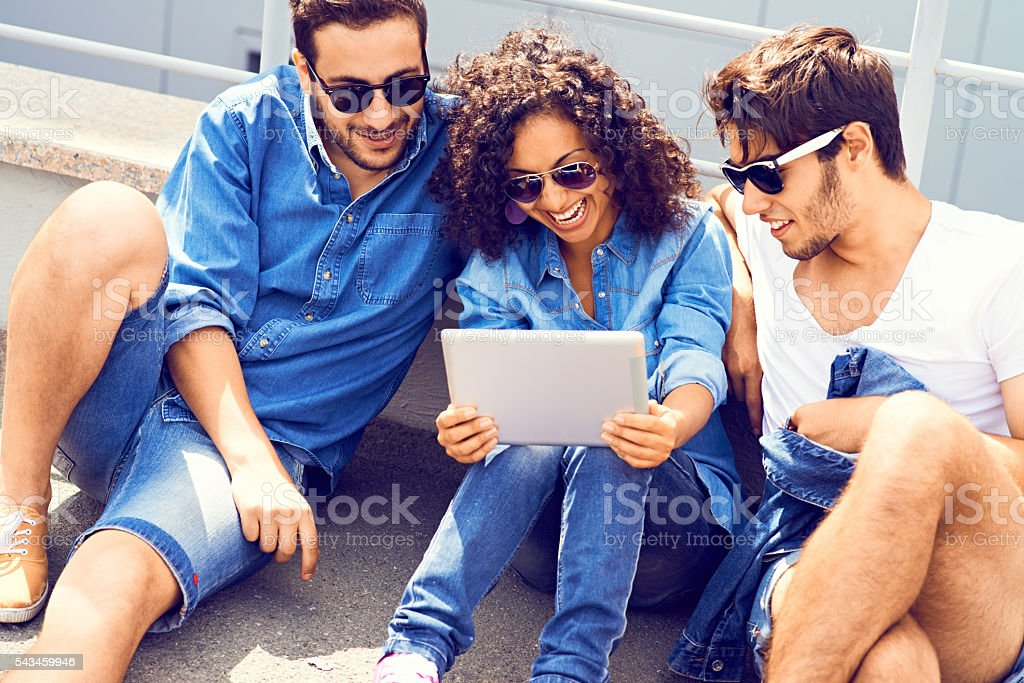 Teens outdoors stock photo