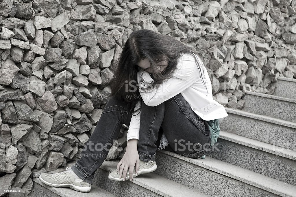 Teens problems. Young woman alone at the city royalty-free stock photo