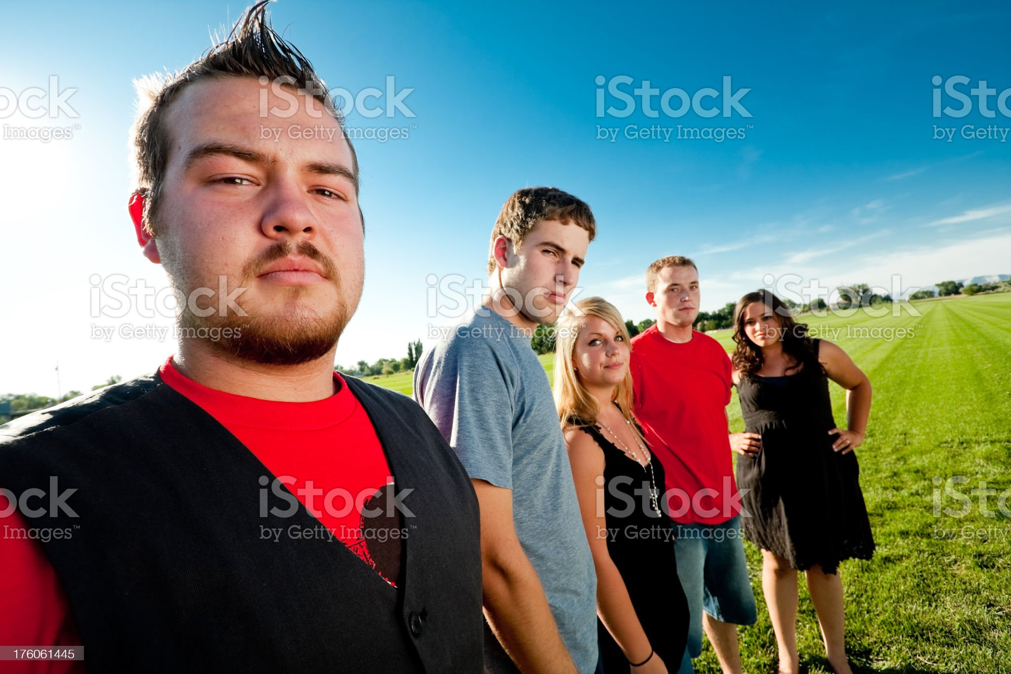 Teens Standing in a line on Lawn royalty-free stock photo