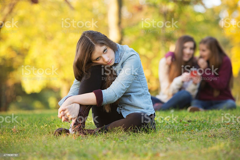 Teens Talking About Girl stock photo