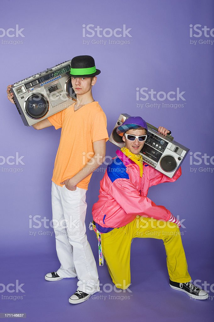 Teens with Boom Boxes stock photo