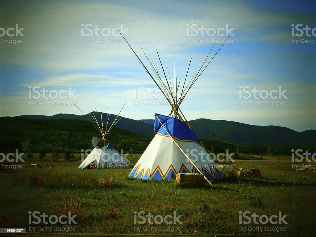 Teepee and Grasslands stock photo