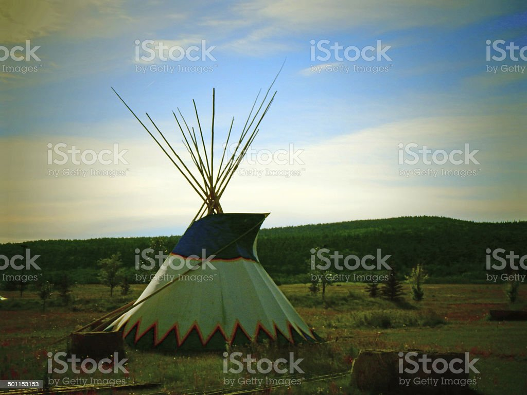 Teepee and Grasslands Sunset stock photo