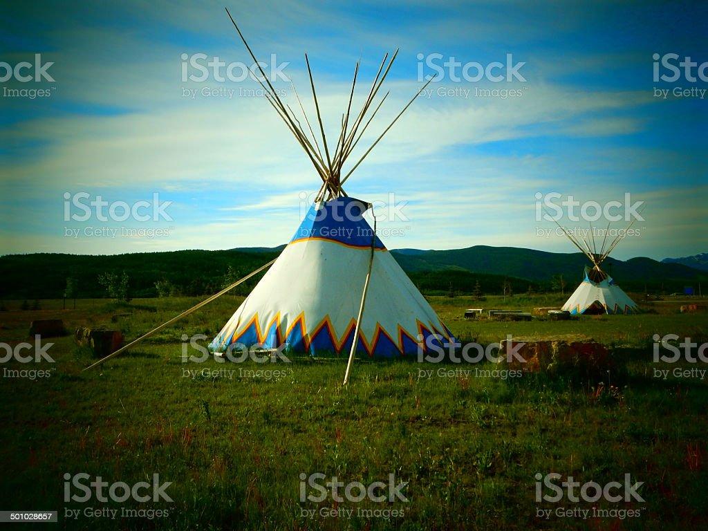 Teepee and Prairie stock photo