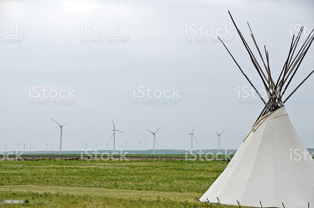 Teepee and Wind Turbines royalty-free stock photo