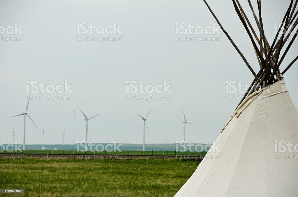 Teepee and Wind Turbines stock photo