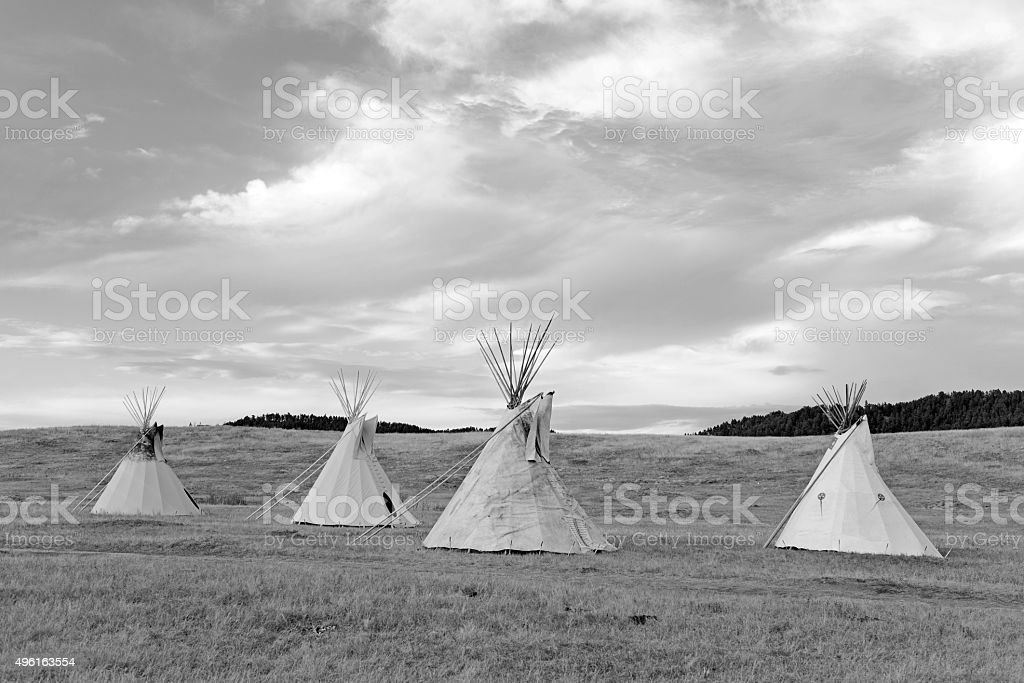Teepee (tipi) as used by Great Plains Native Americans stock photo