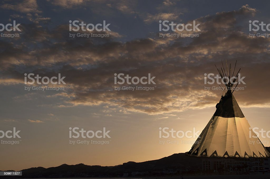 Teepee at Sunset stock photo