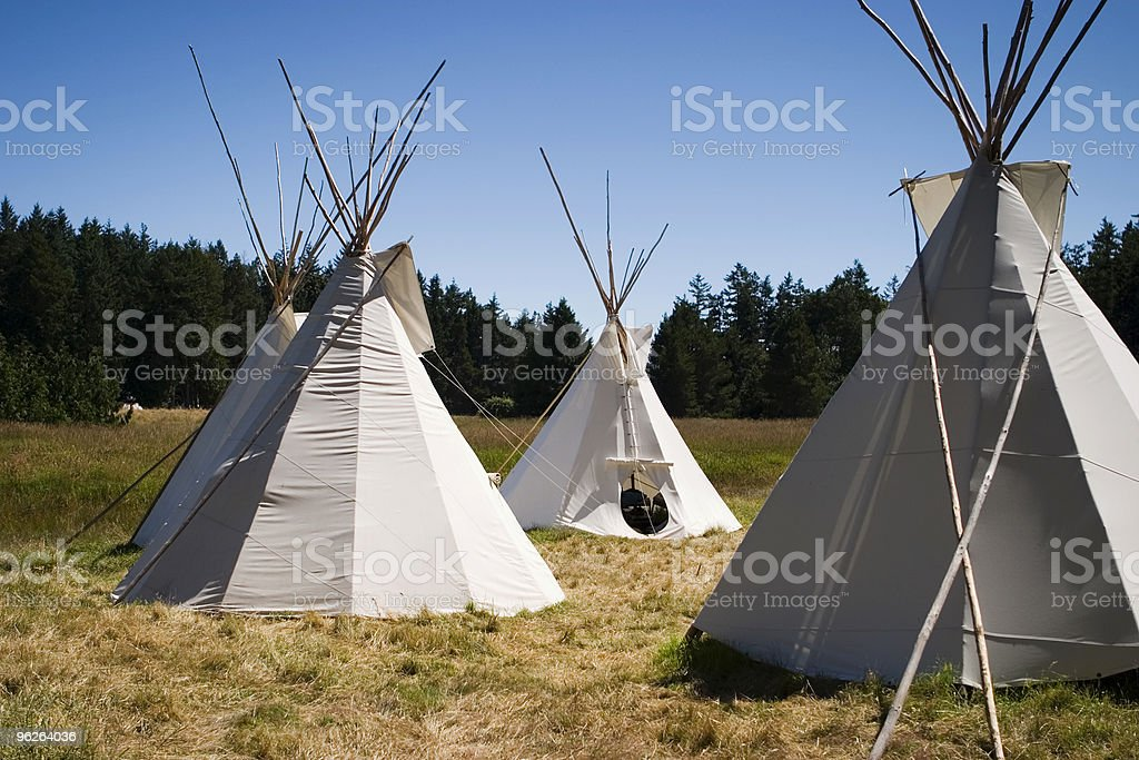 Teepee Camp In Meadow royalty-free stock photo