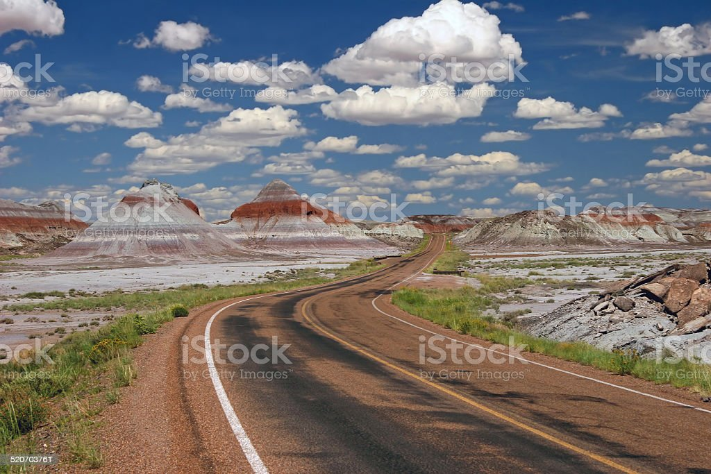 Teepee Rock Formations in Painted Desert National Park stock photo