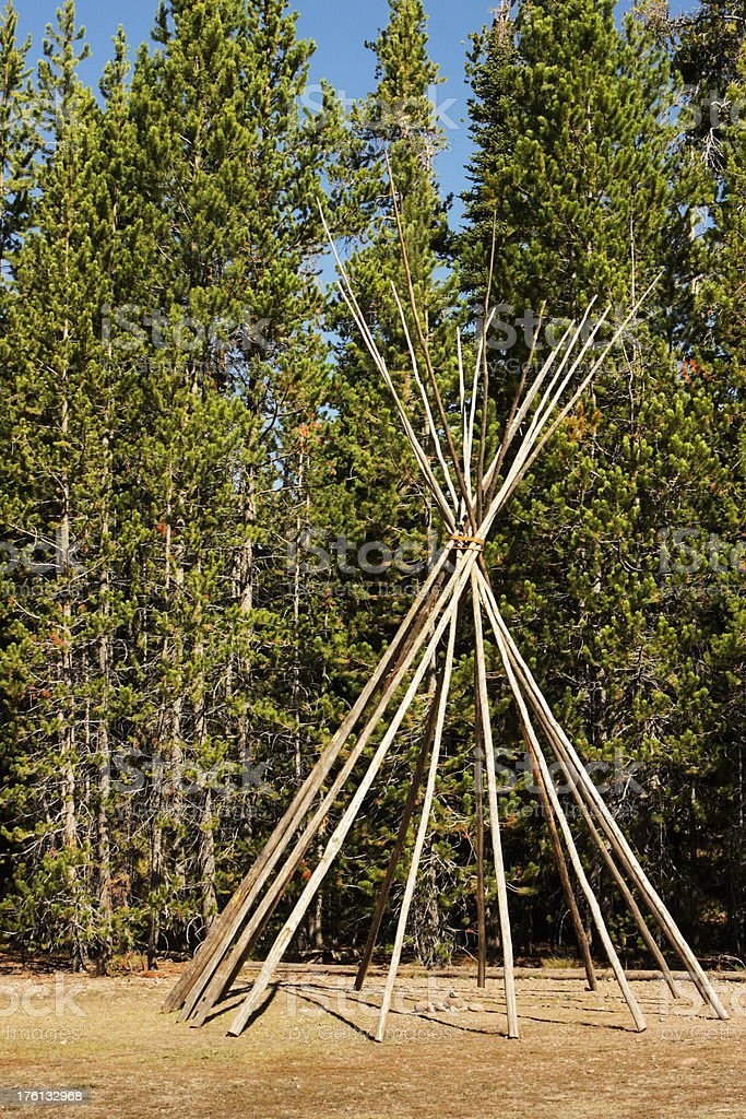Teepee Tent Pole Indian Dwelling stock photo