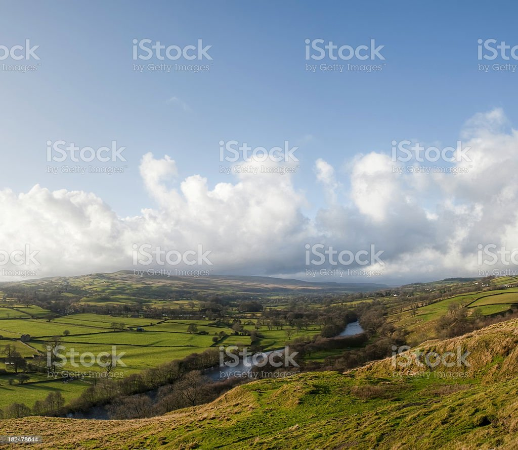 Teesdale open countryside and cloudscape, Durham, UK royalty-free stock photo