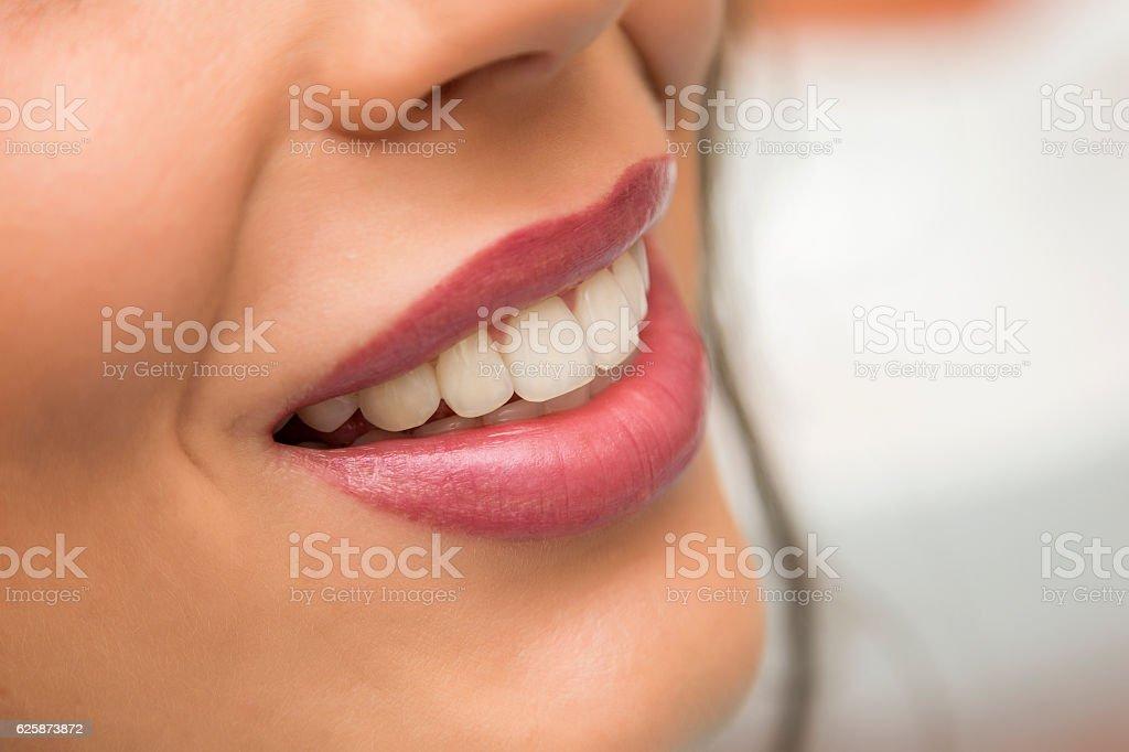 Teeth and lips stock photo