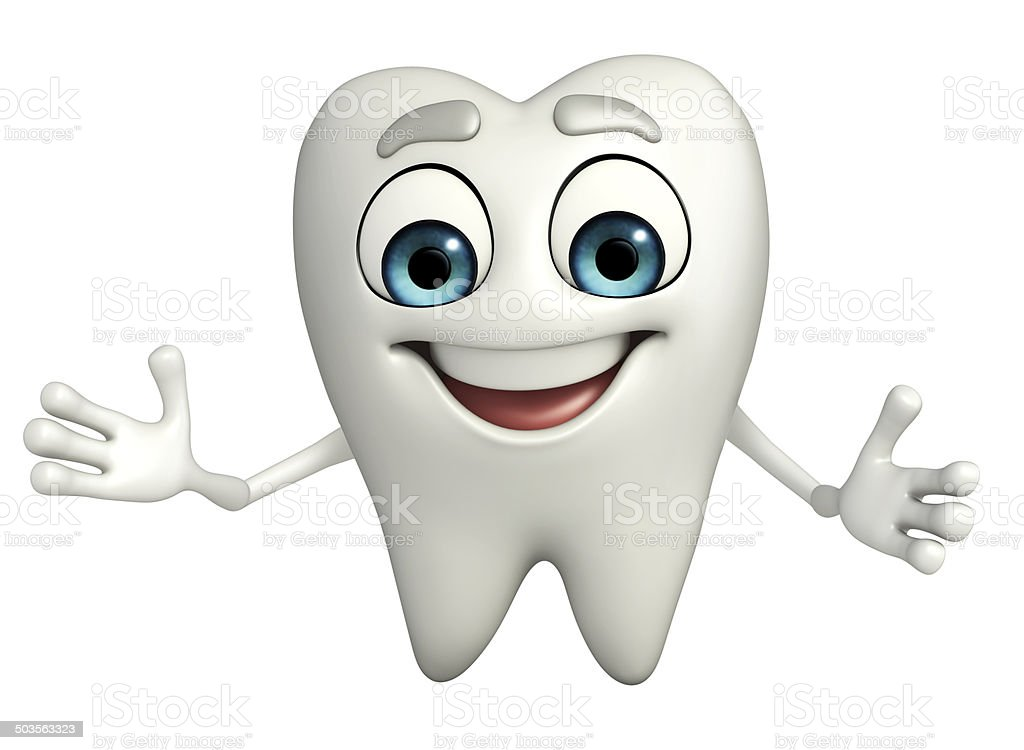 Teeth character is clapping stock photo