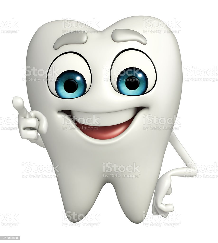 Teeth character is pointing stock photo