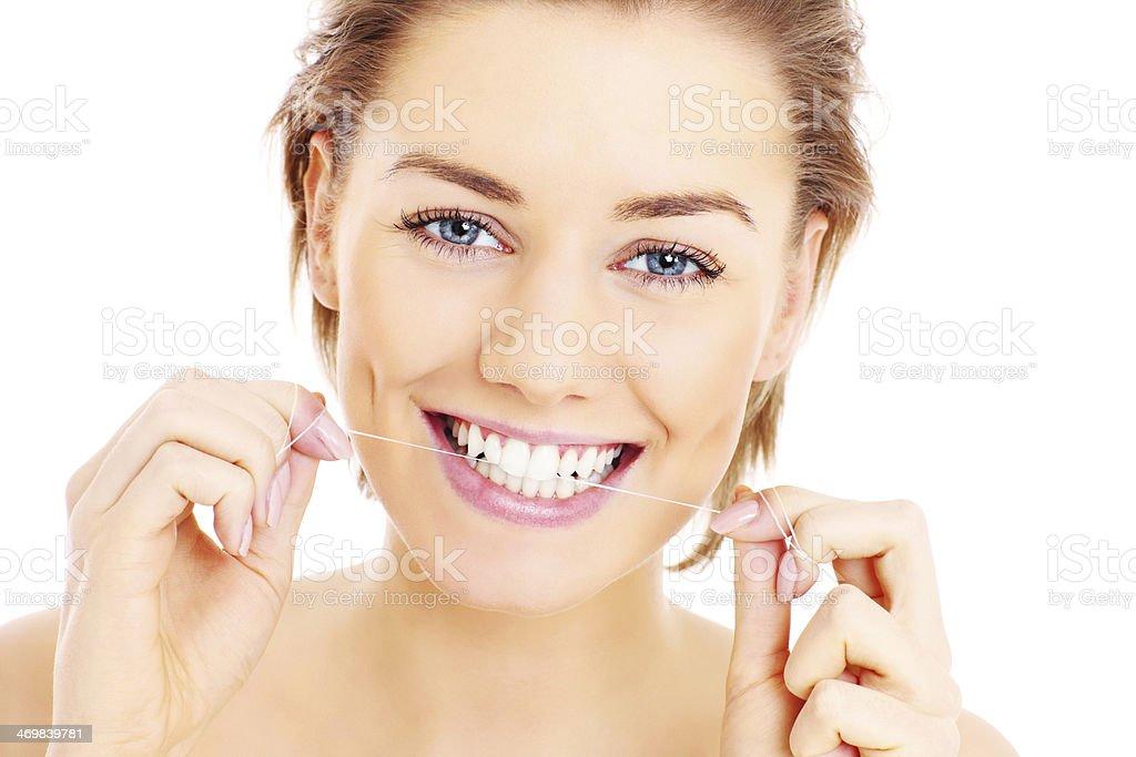 Teeth floss stock photo