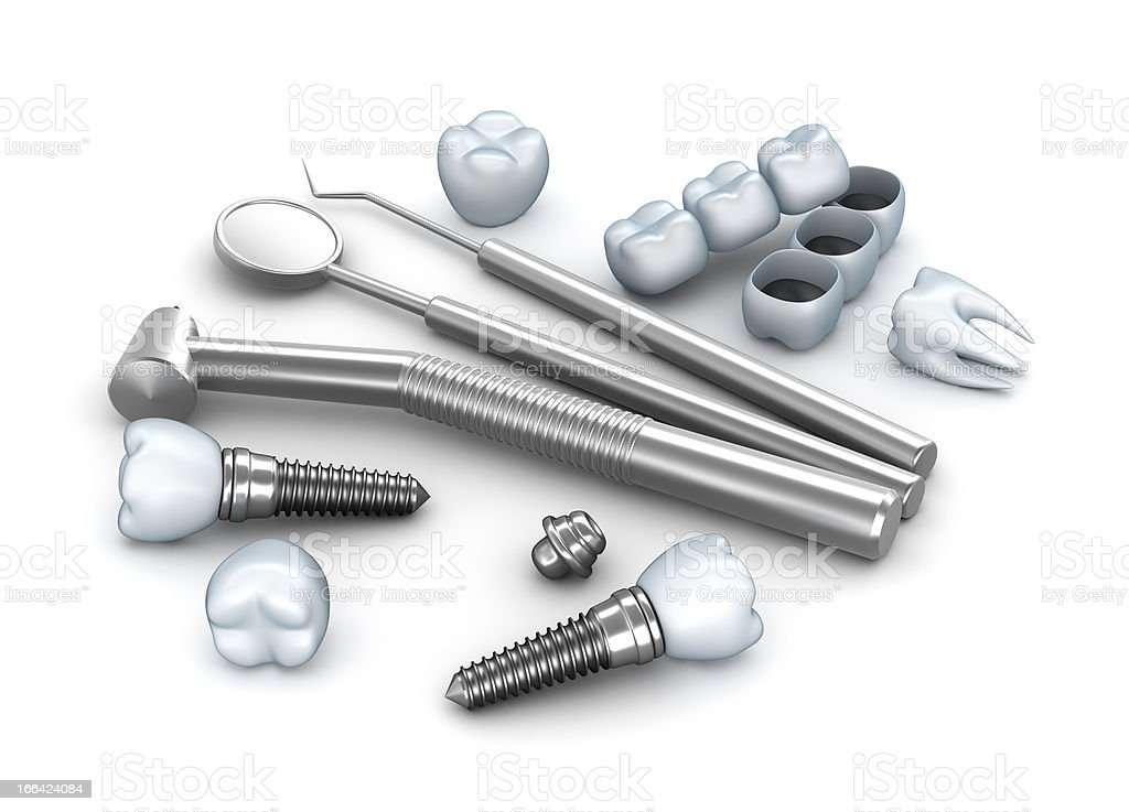 Teeth, implants, and dental instruments royalty-free stock photo