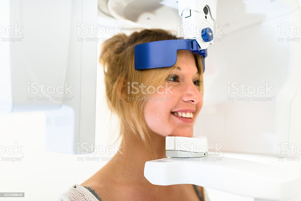 teeth scan at the dentist stock photo