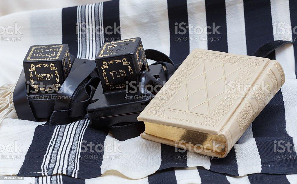 Tefillin and tallit and Sidur Prayer. Text-tefillin Israel stock photo