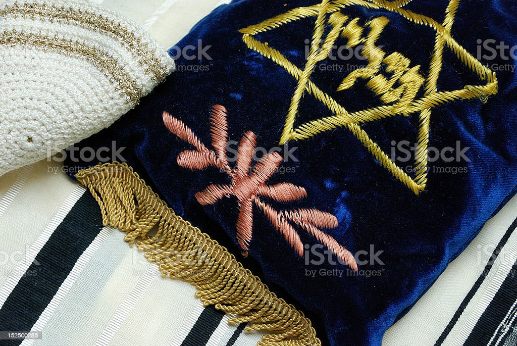 Tefillin Bag and Yarmulke royalty-free stock photo