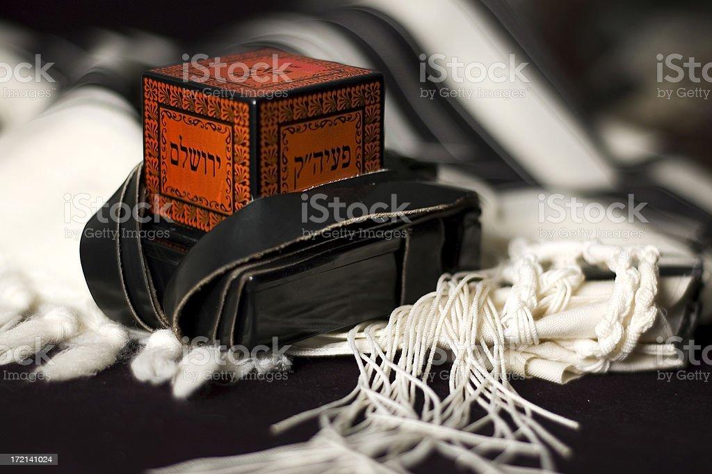 Tefillin on a Talit stock photo