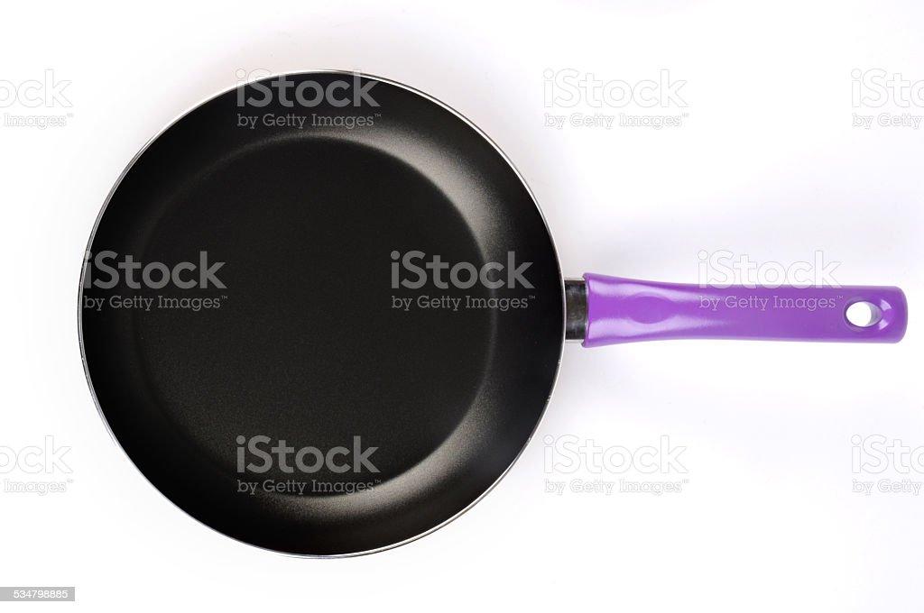 Teflon frying pan isolated on white background stock photo