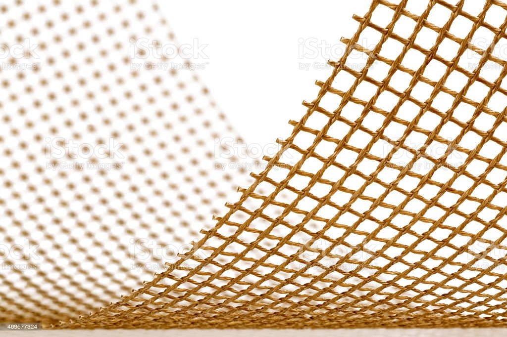 Teflon open mesh fabric on white background stock photo
