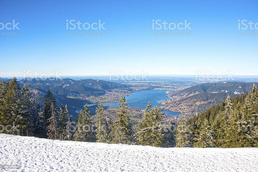 Tegernsee im Winter Blick vom Wallberg mit Schnee stock photo
