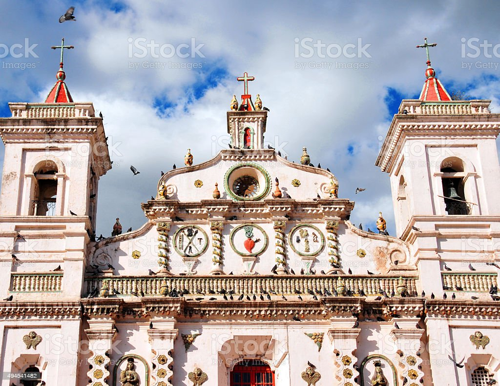 Tegucigalpa, Honduras: pigeons and the Virgen de los Dolores church stock photo