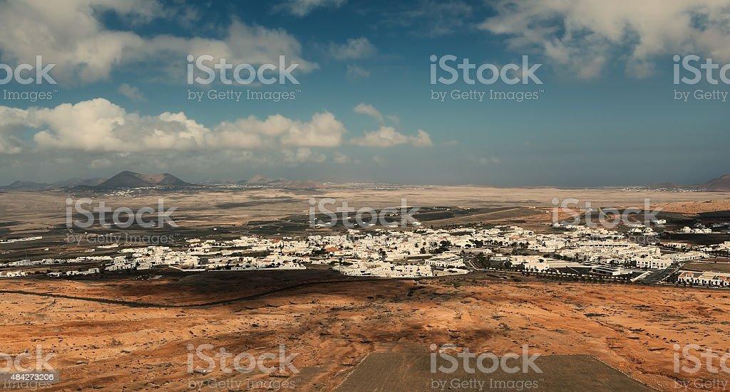 Teguise from Castillo de Santa Barbara, Lanzarote stock photo