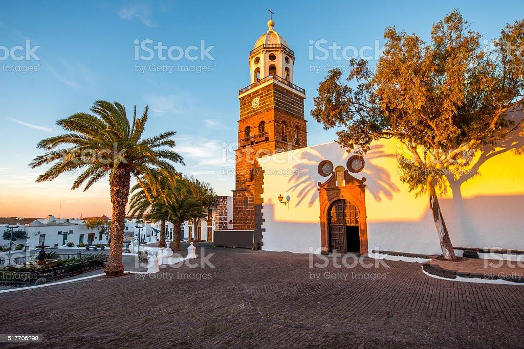Teguise village on Lanzarote island stock photo