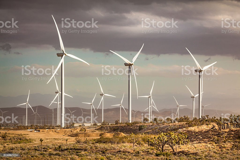 Tehachapi Pass Wind Farm As A Dusty Storm Moves In stock photo