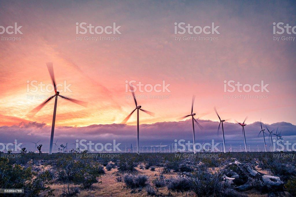 Tehachapi Pass Wind Farm At Sunset stock photo
