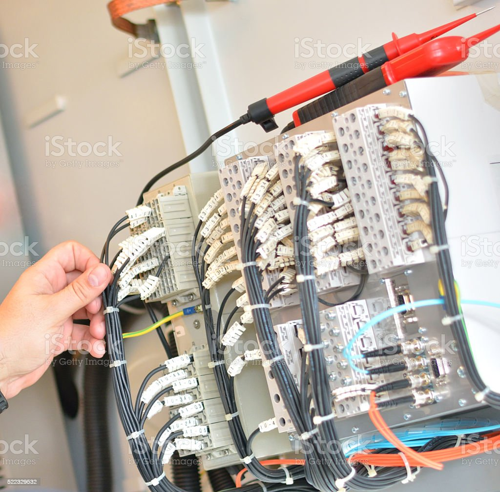 Tehnician Testing Equipment stock photo