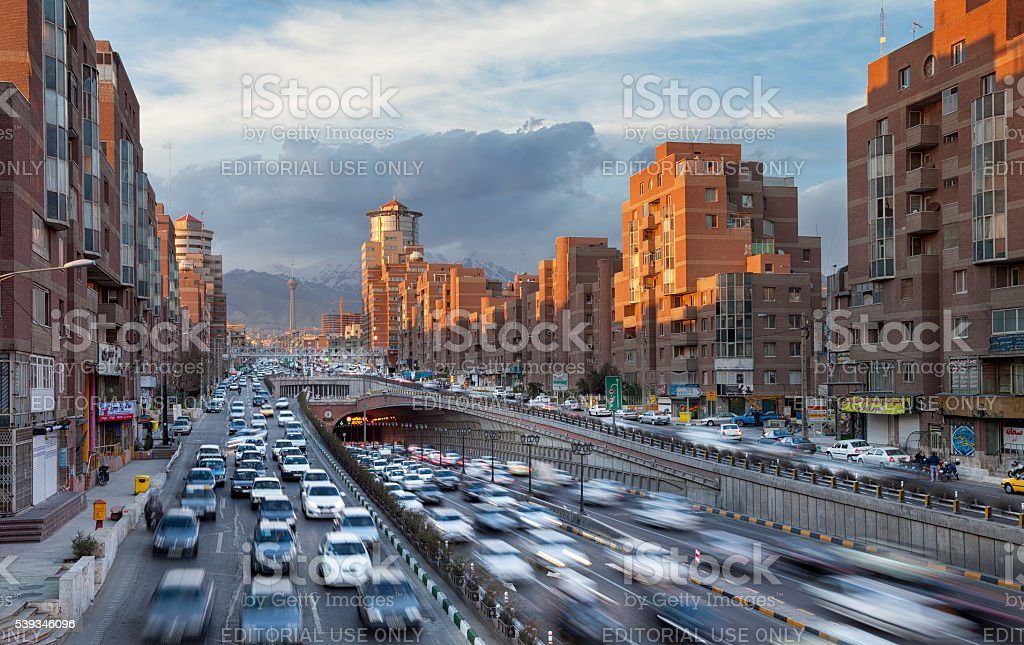 Tehran Cityscape with Sunlit Navvab Buildings and Tohid Tunnel stock photo