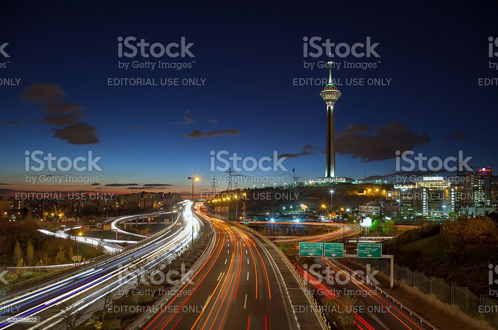 Tehran Highways Filled with Cars in front of Milad Tower stock photo