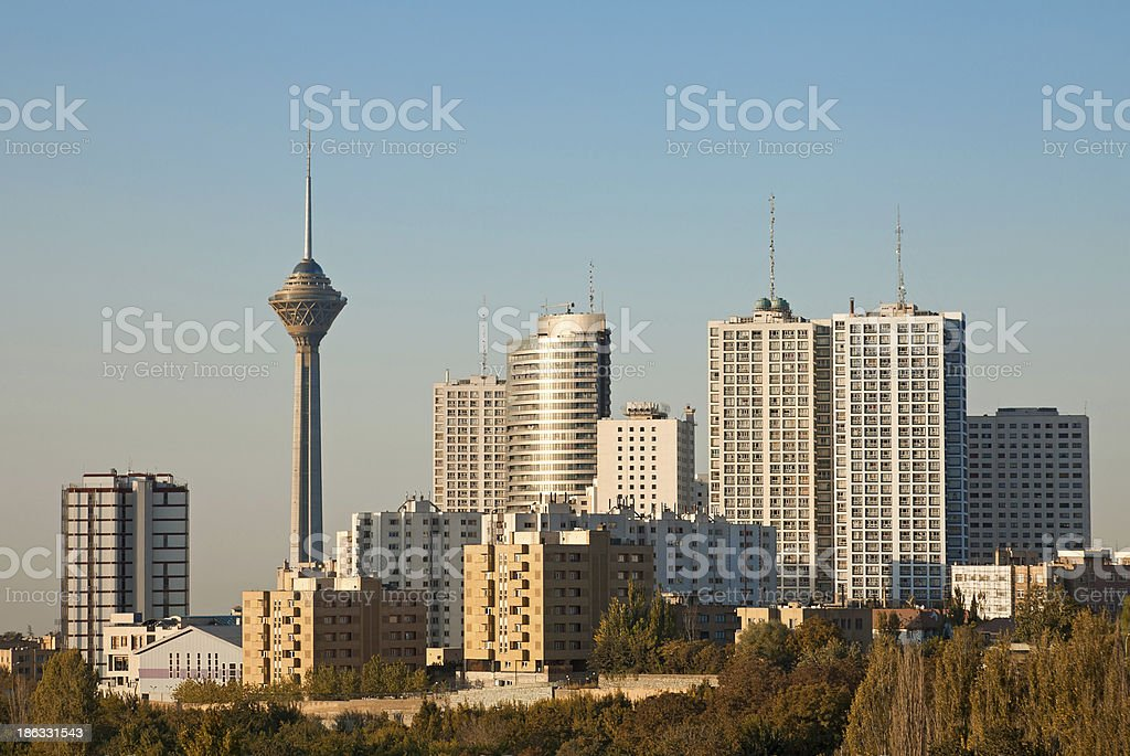 Tehran Skyline and Skyscrapers in the Morning Light stock photo