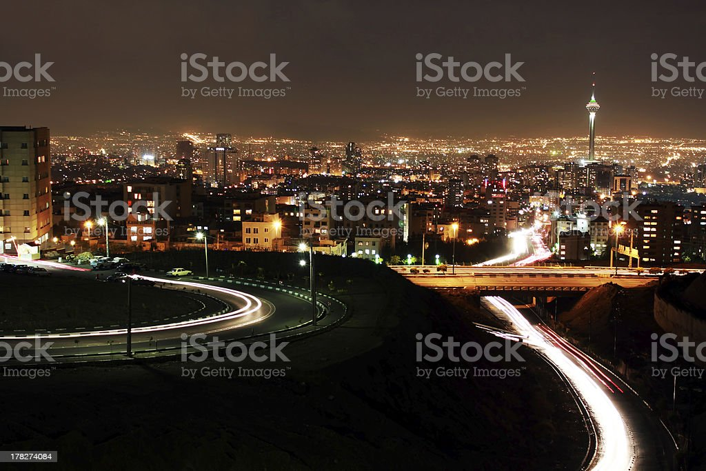 Tehran skyline at night stock photo