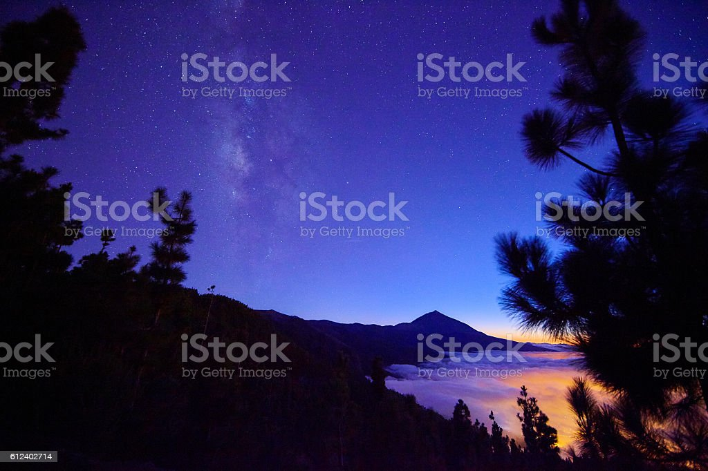 Teide mountain and sea cloud stock photo