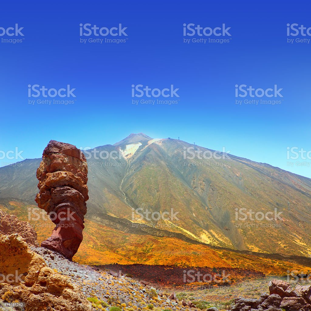 Teide National Park Roques de Garcia in Tenerife stock photo