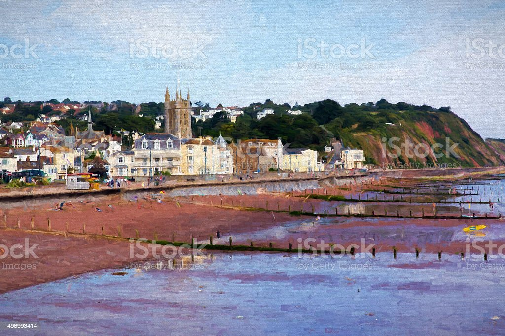 Teignmouth Devon tourist town England UK illustration like oil painting stock photo