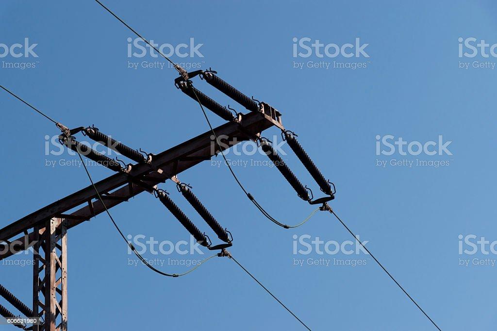 Teile einer elektrischen Oberleitung stock photo