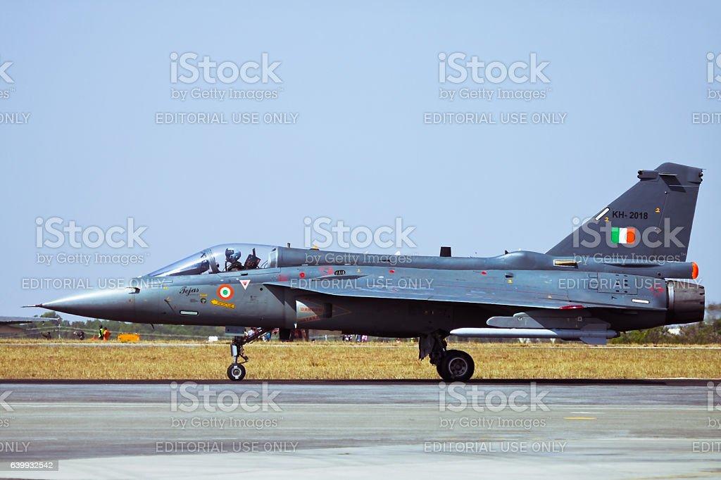 Tejas taxing past spectators at Aero India stock photo