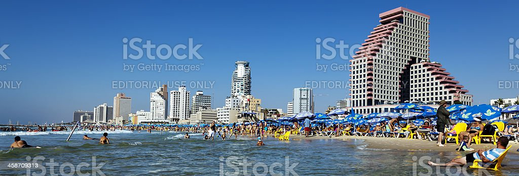 Tel Aviv Beach and Hotel Strip Panorama stock photo