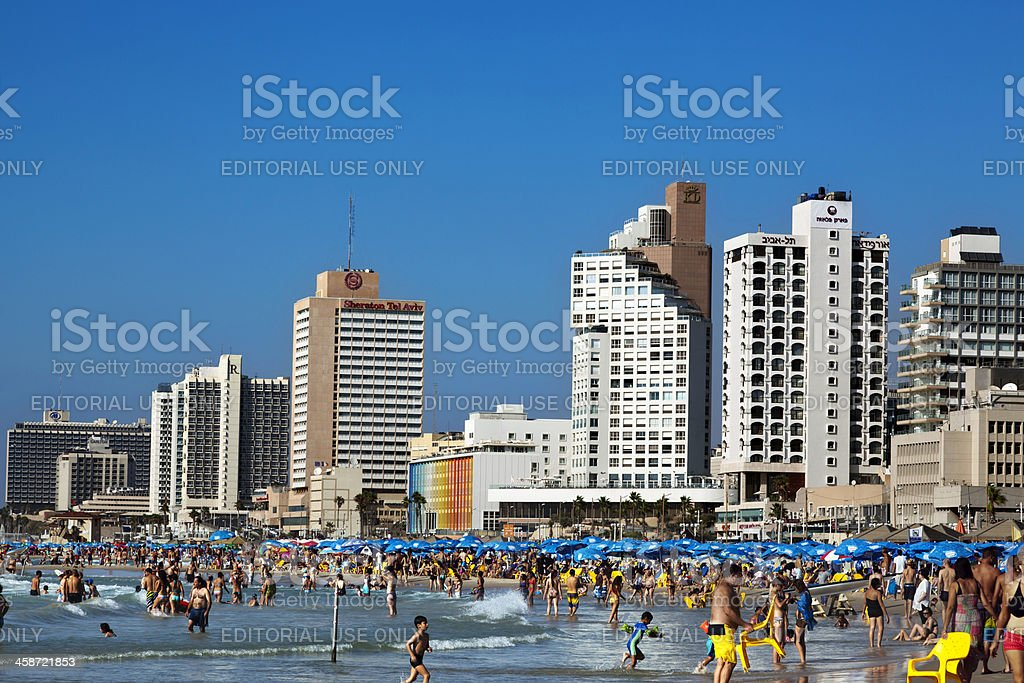 Tel Aviv Beach and Hotel Strip stock photo