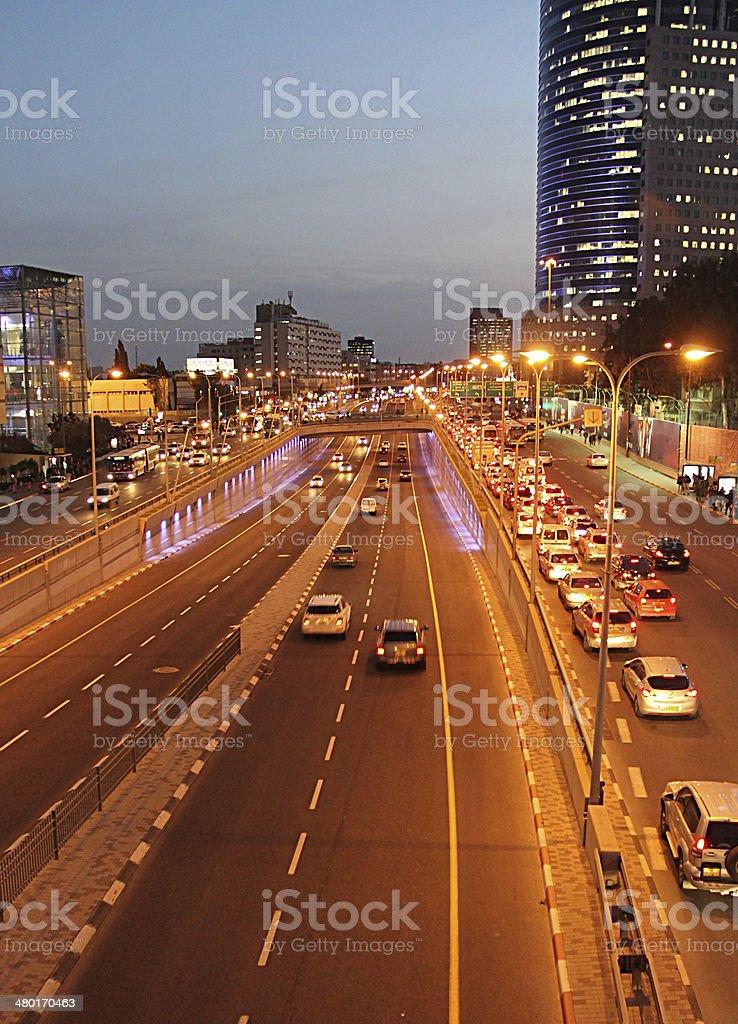 Tel Aviv city at night. stock photo