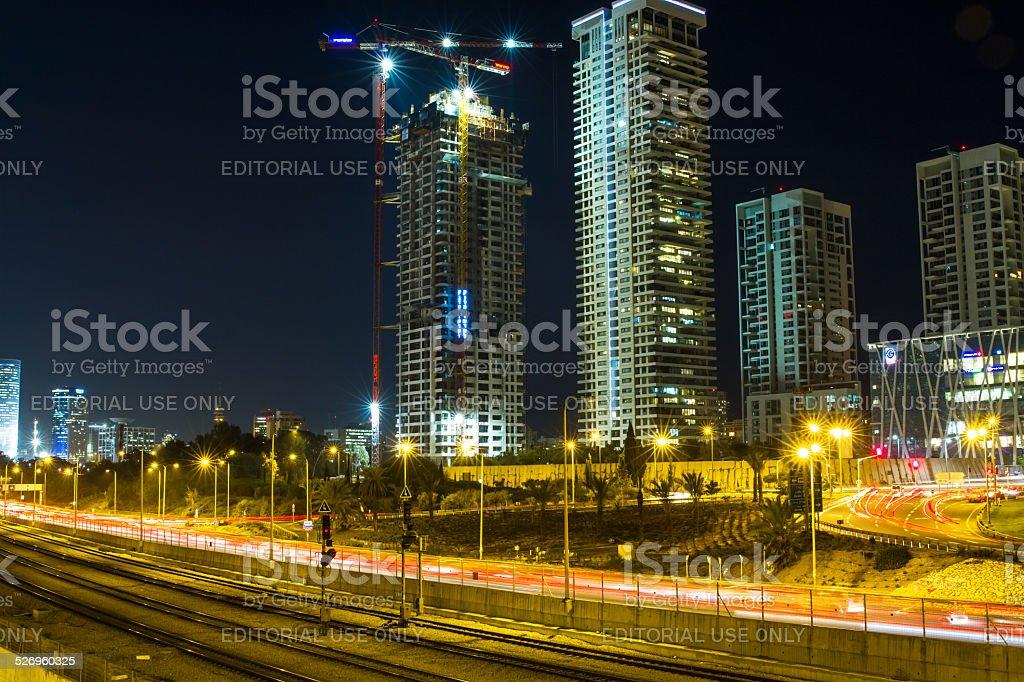 Tel Aviv  Skyline at night stock photo