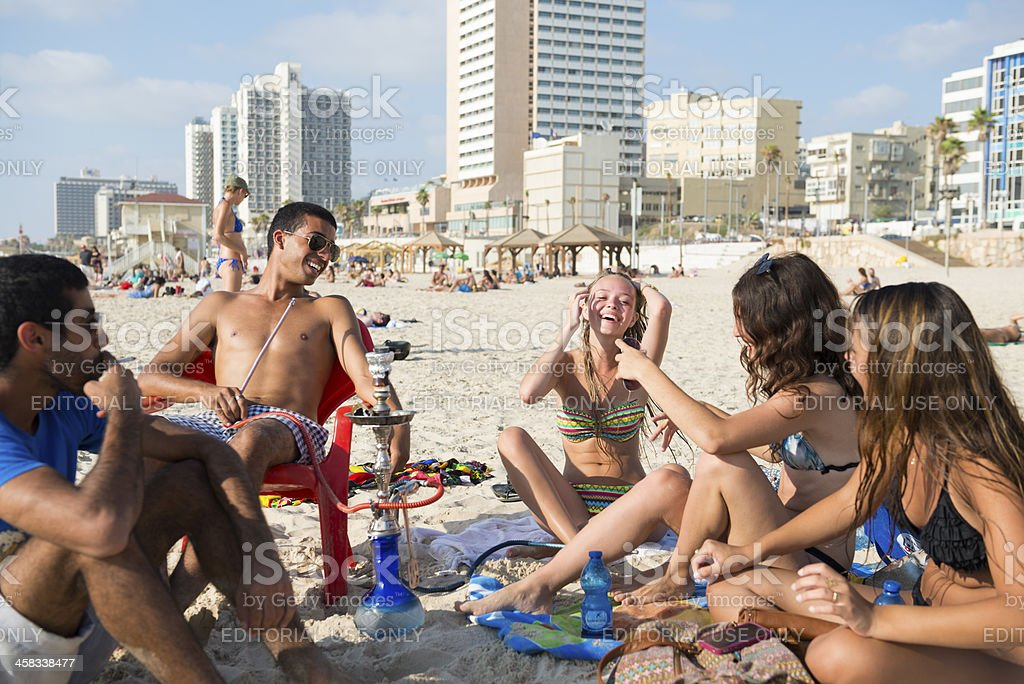 Tel Aviv summer beach lifestyle stock photo