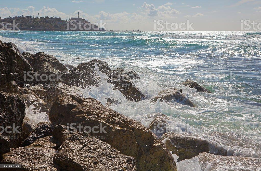 Tel Aviv - the surge and old Jaffa stock photo