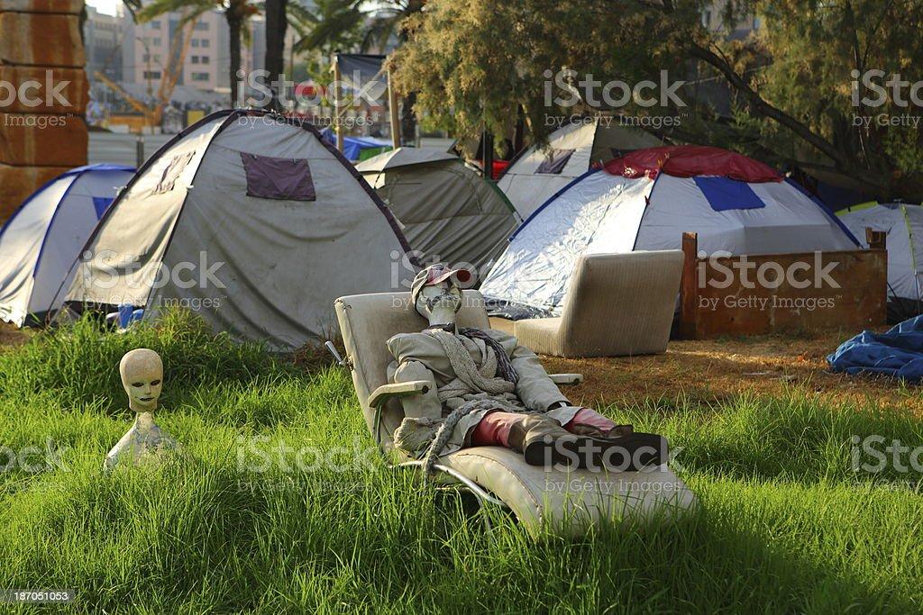 Tel Aviv's tent city stock photo
